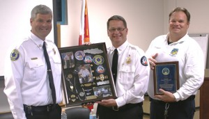 """(L-R) Wm. """"Stewart"""" Brown, Clinical Training Officer; Gerald """"Jerry"""" Smith, Executive Director, Battalion Chief James Griffeth"""